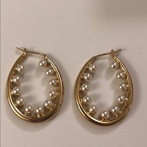Jewelry - Pearl and Gold Hoops From ShopBop